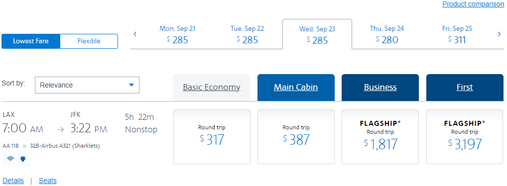 Restricted LAX-JFK fare on American Airlines, booked three weeks before travel