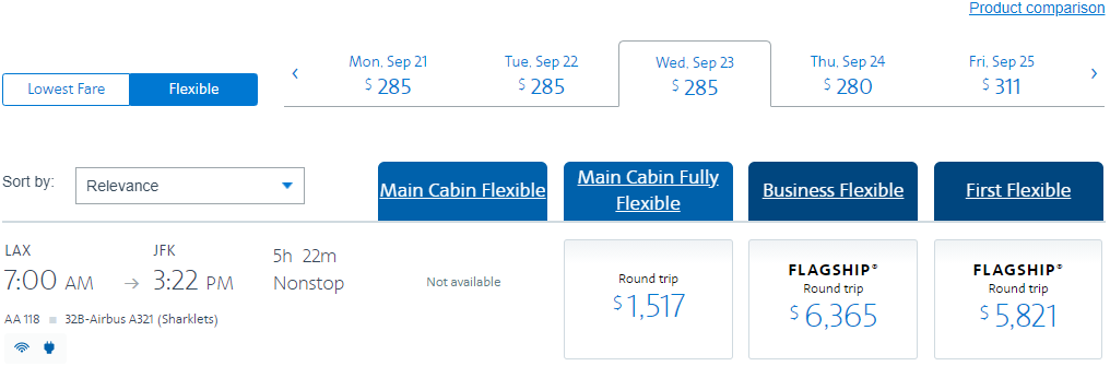 Unrestricted LAX-JFK fare on American Airlines, booked three weeks before travel